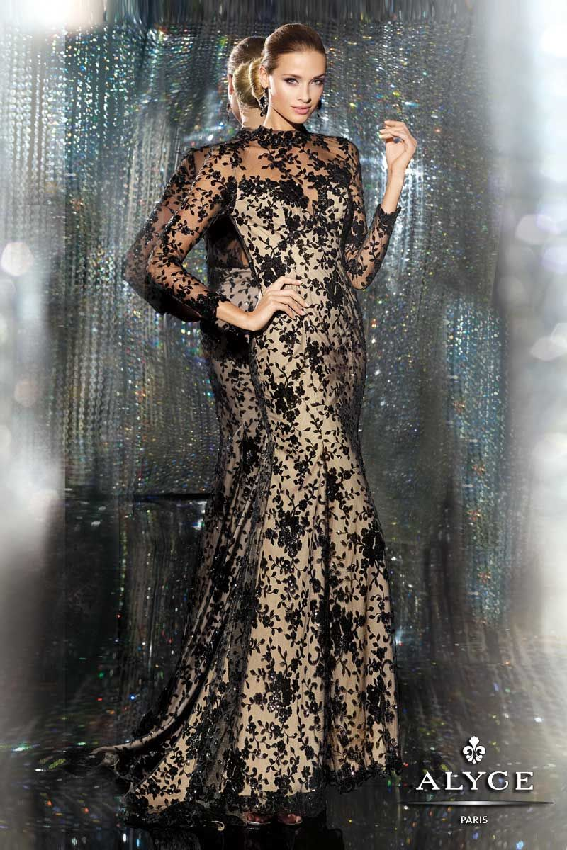 Black evening dress lace sleeves