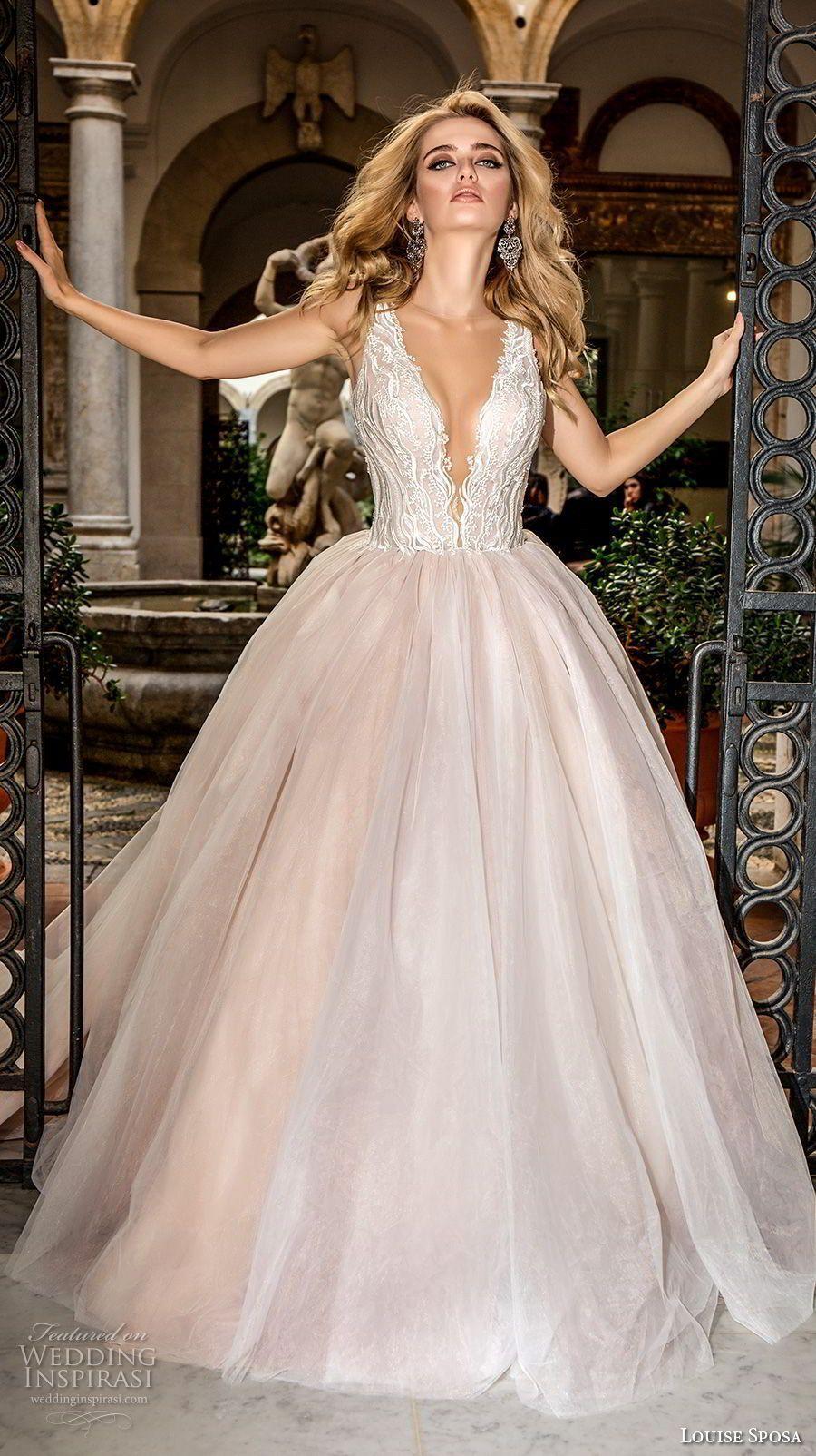 Louise sposa bridal sleeveless deep plunging v neck heavily