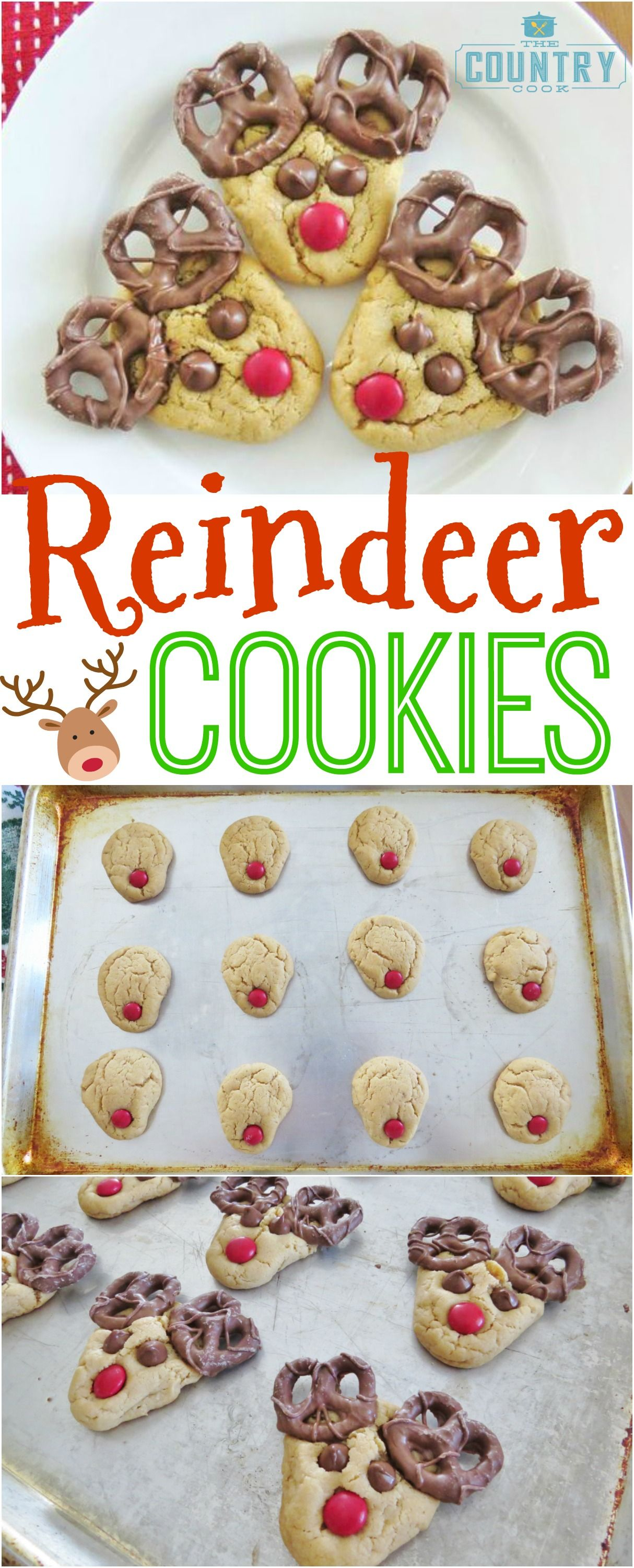 Easy and adorable Reindeer Cookies recipe from The Country Cook. These are always a hit at every holiday gathering!