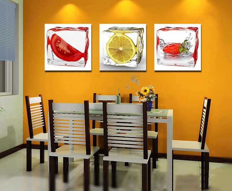 3 Panel Modern Wall Art Canvas Dining Room Wall Decorative Pictures Ice  Fruit Oil Painting On Canvas Kitchen Room Decor