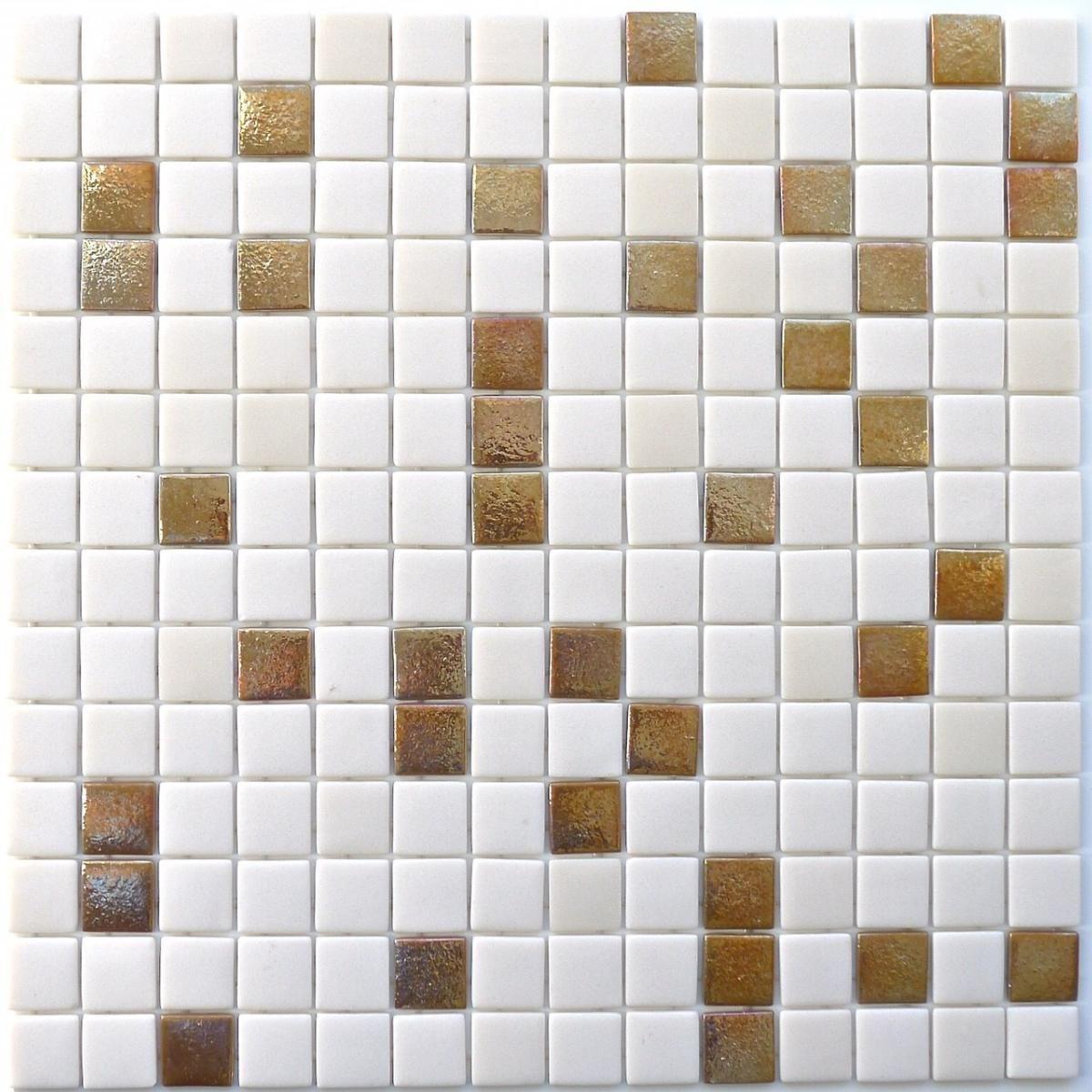 Blanc Casse Avec Dore Metallise Mosaique Emaux Lisse Plaque