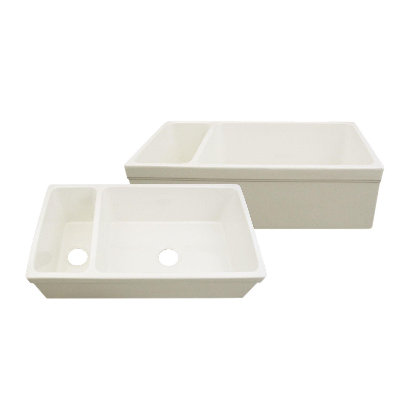 Whitehaus Double Bowl Fireclay 36\'\' Farmhouse Apron Kitchen Sink ...