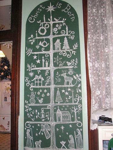 Chalkboard Christmas Tree Christmas Notebook Christmas Chalkboard Scandinavian Christmas Trees Christmas Tree Drawing