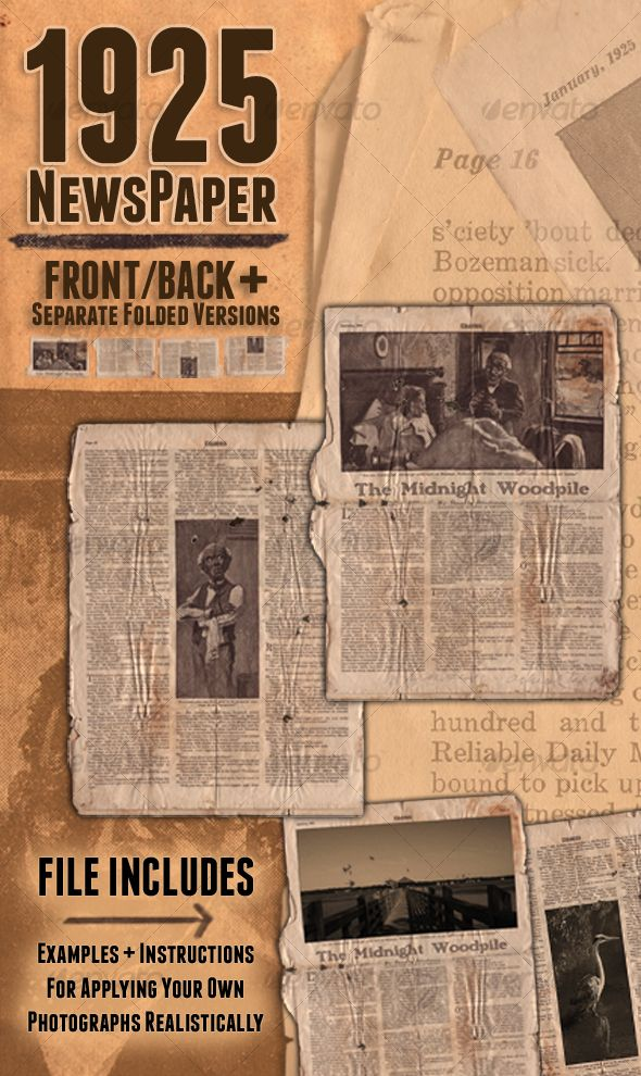 1925 Newspaper Psd templates, Font logo and Fonts - old newspaper template