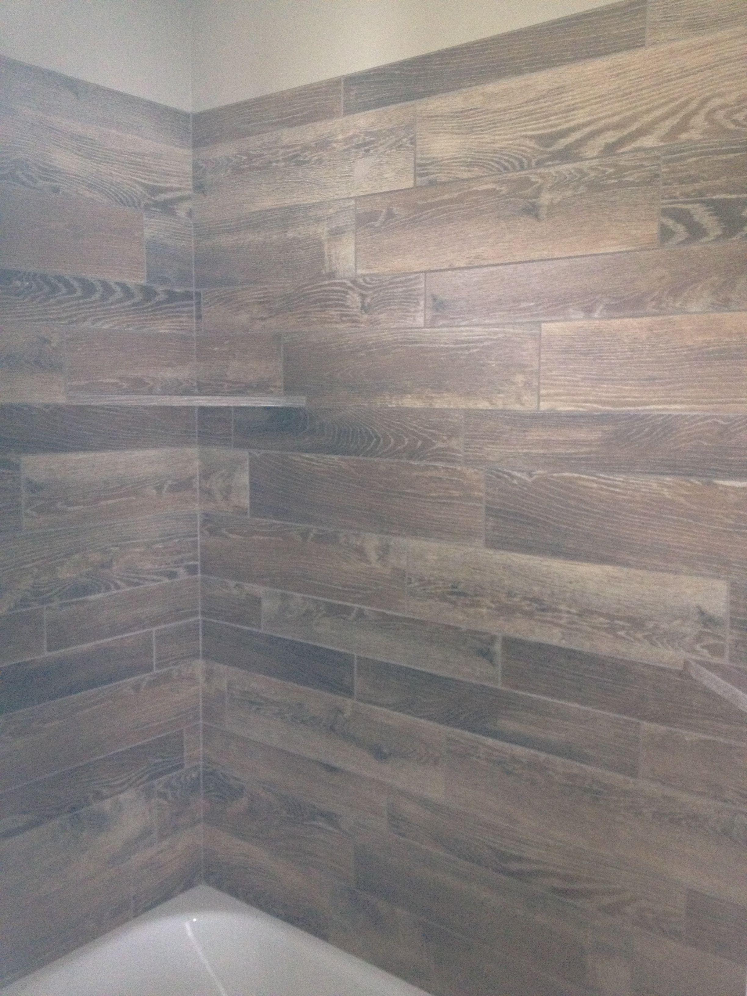 tile tub surround wood tile shower