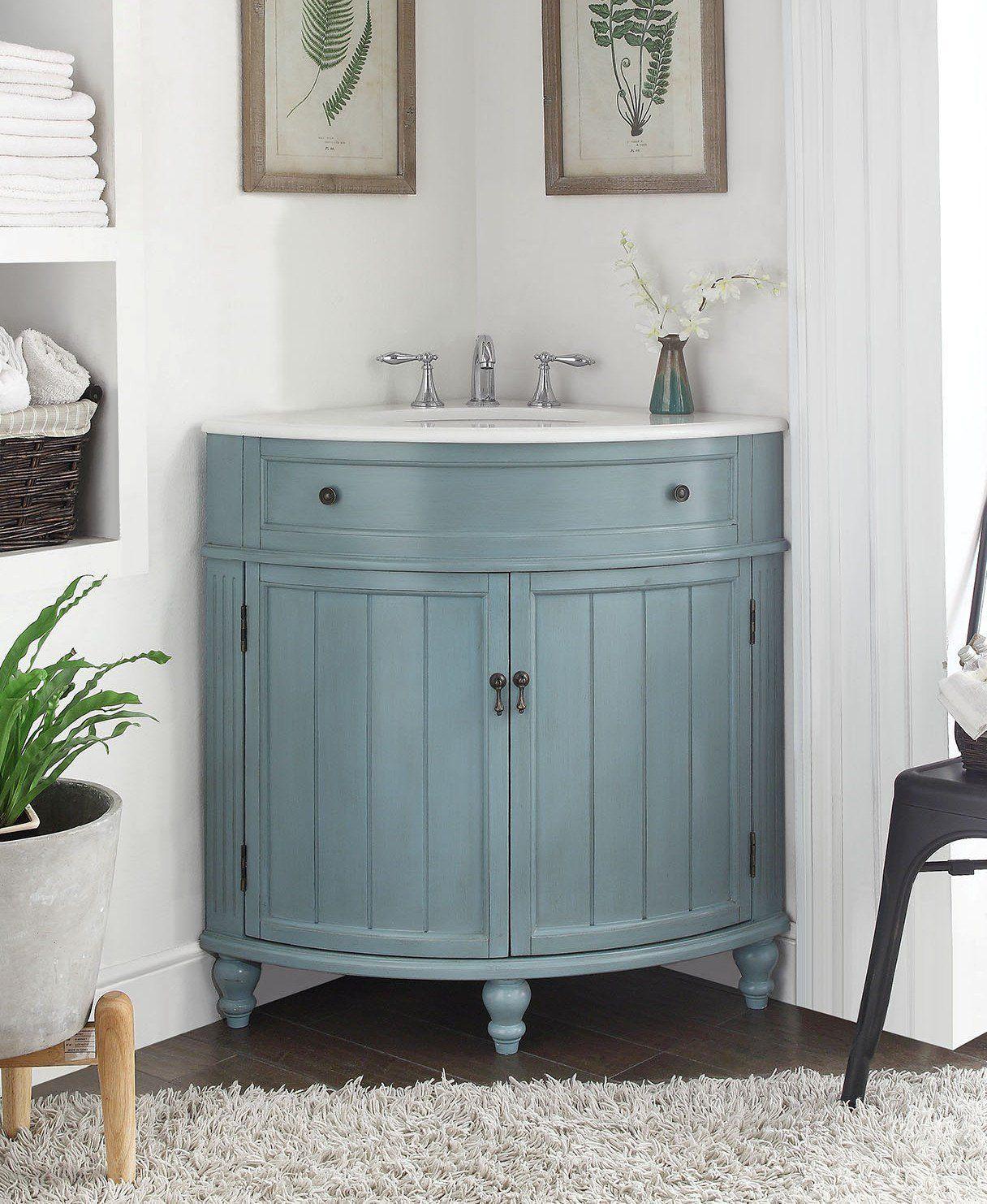 24 Vintage Light Blue Cottage Style Thomasville Bathroom Sink Vanity Model With Images Corner Bathroom Vanity Small Bathroom Vanities Corner Sink Bathroom