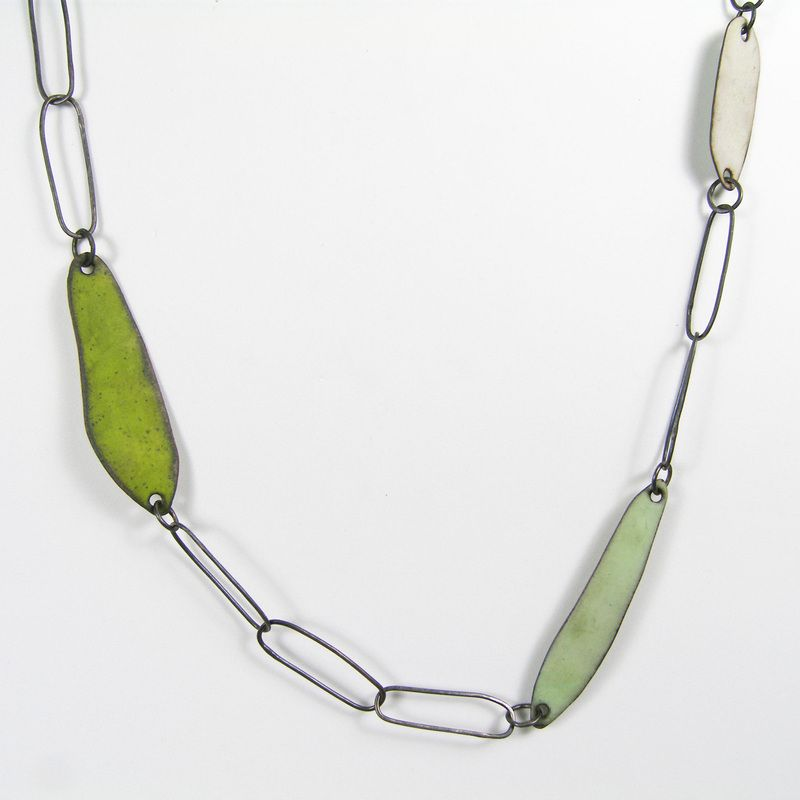 Links and enamel necklace- green, Deborrah Daher