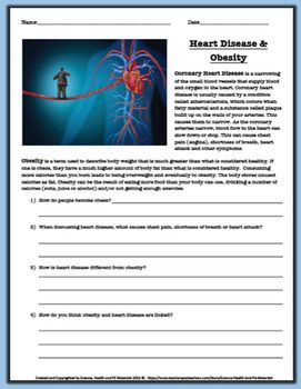 Heart Disease and Obesity Worksheet | Elementary education ...
