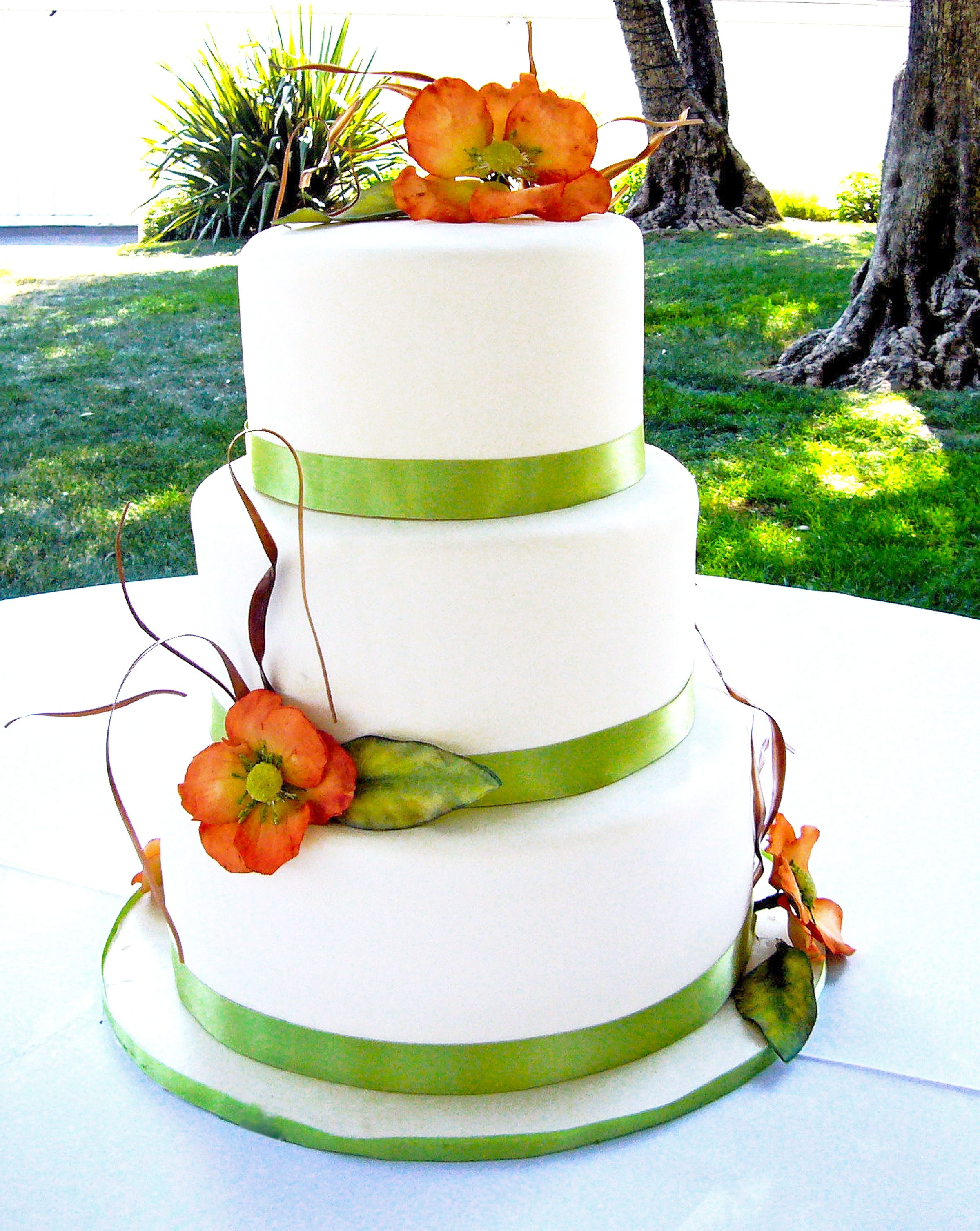 3 tier round fondant wedding cake with spring green ribbon and ...