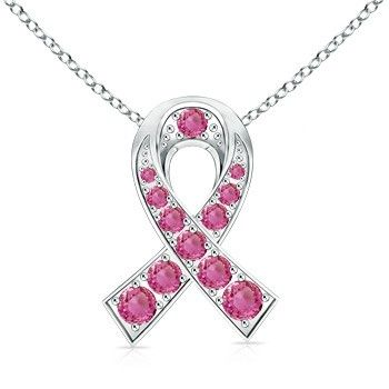 Angara Pink Sapphire Necklace in 14k White Gold ZbOdSQx