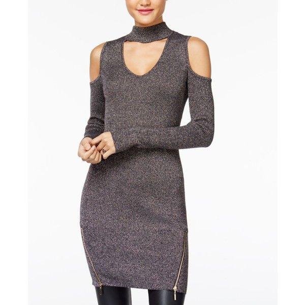 3d48b901c7d Material Girl Juniors  Metallic Cold-Shoulder Sweater Dress