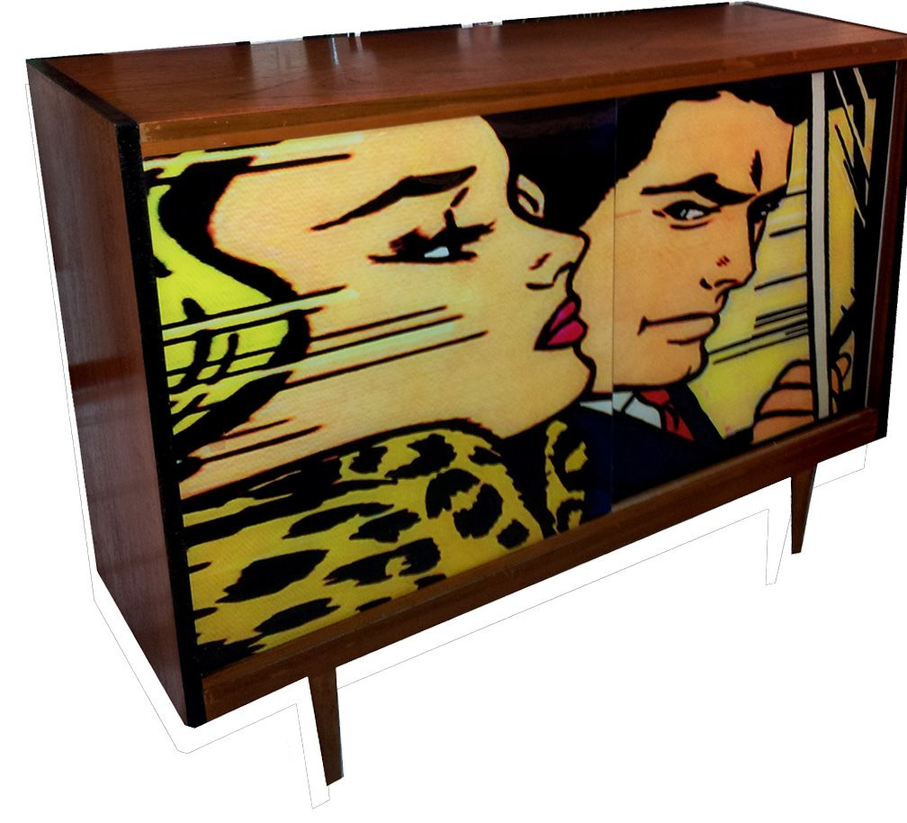 1960s Pop Art Glass Fronted Cabinet Art Furniture 1960s