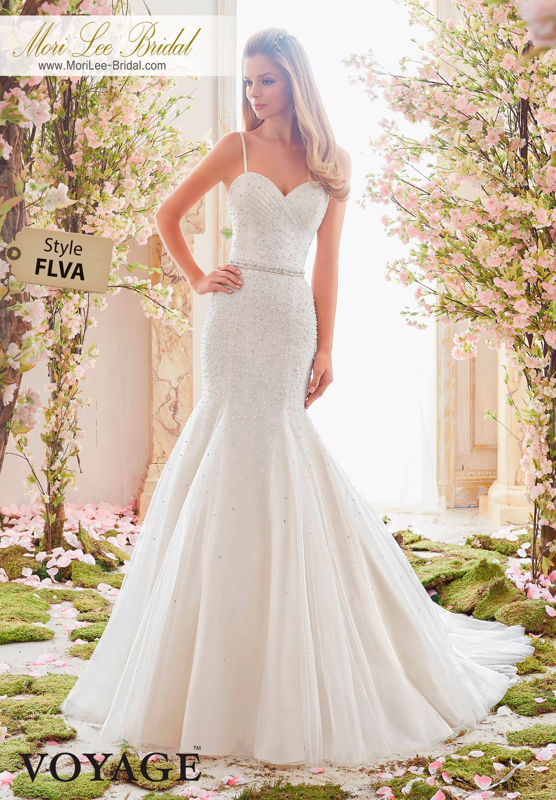 Beaded spaghetti strap wedding dresses  Dress Style FLVA PEARL AND CRYSTAL BEADING ON SOFT TULLE Removable