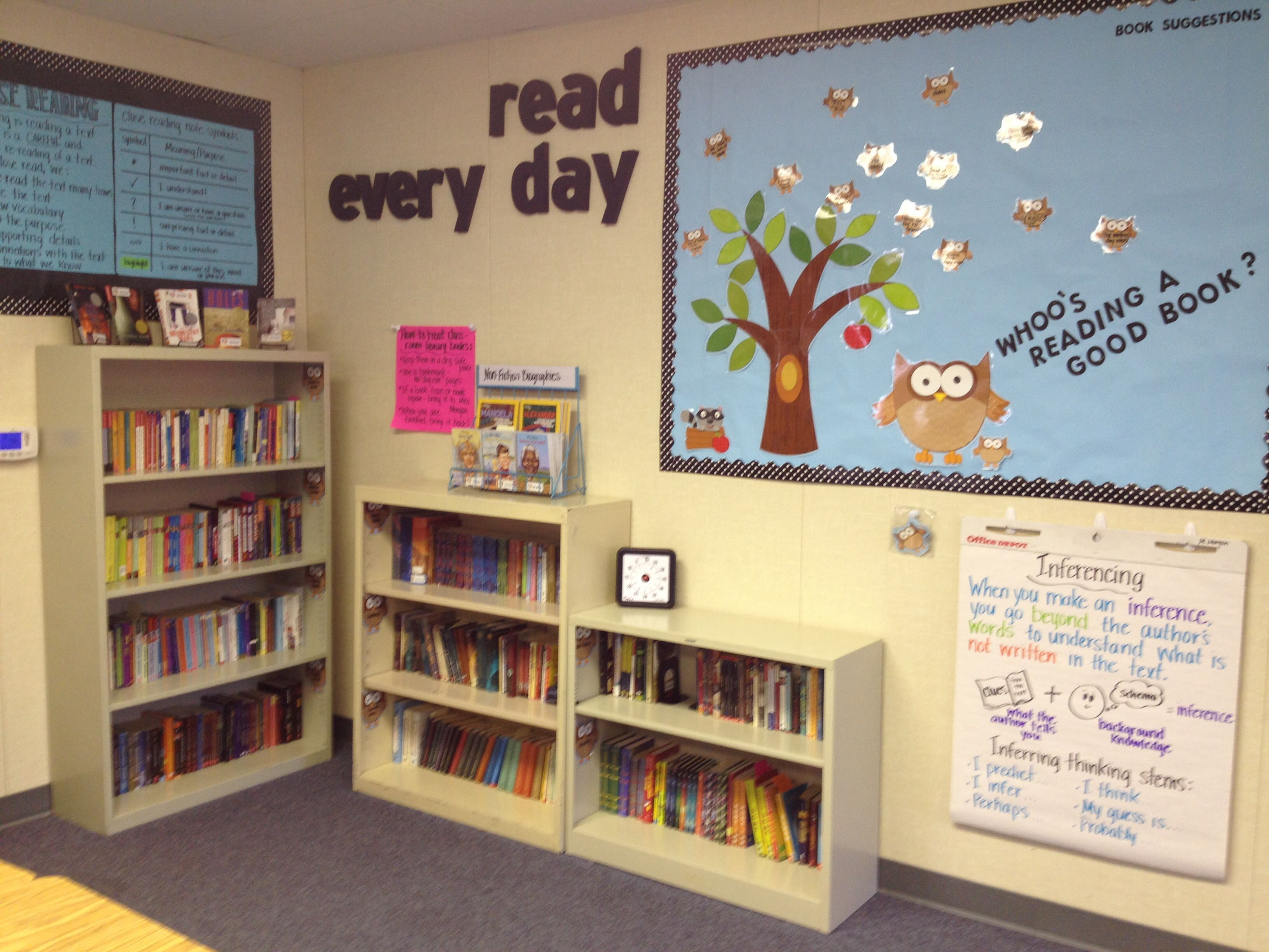 Classroom Library Decorating Ideas ~ Middle school classroom library organized by genre