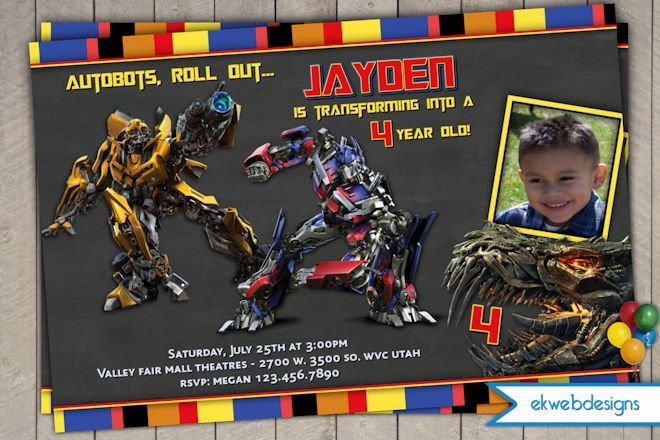 transformers 4 personalized photo birthday invitations | kids,