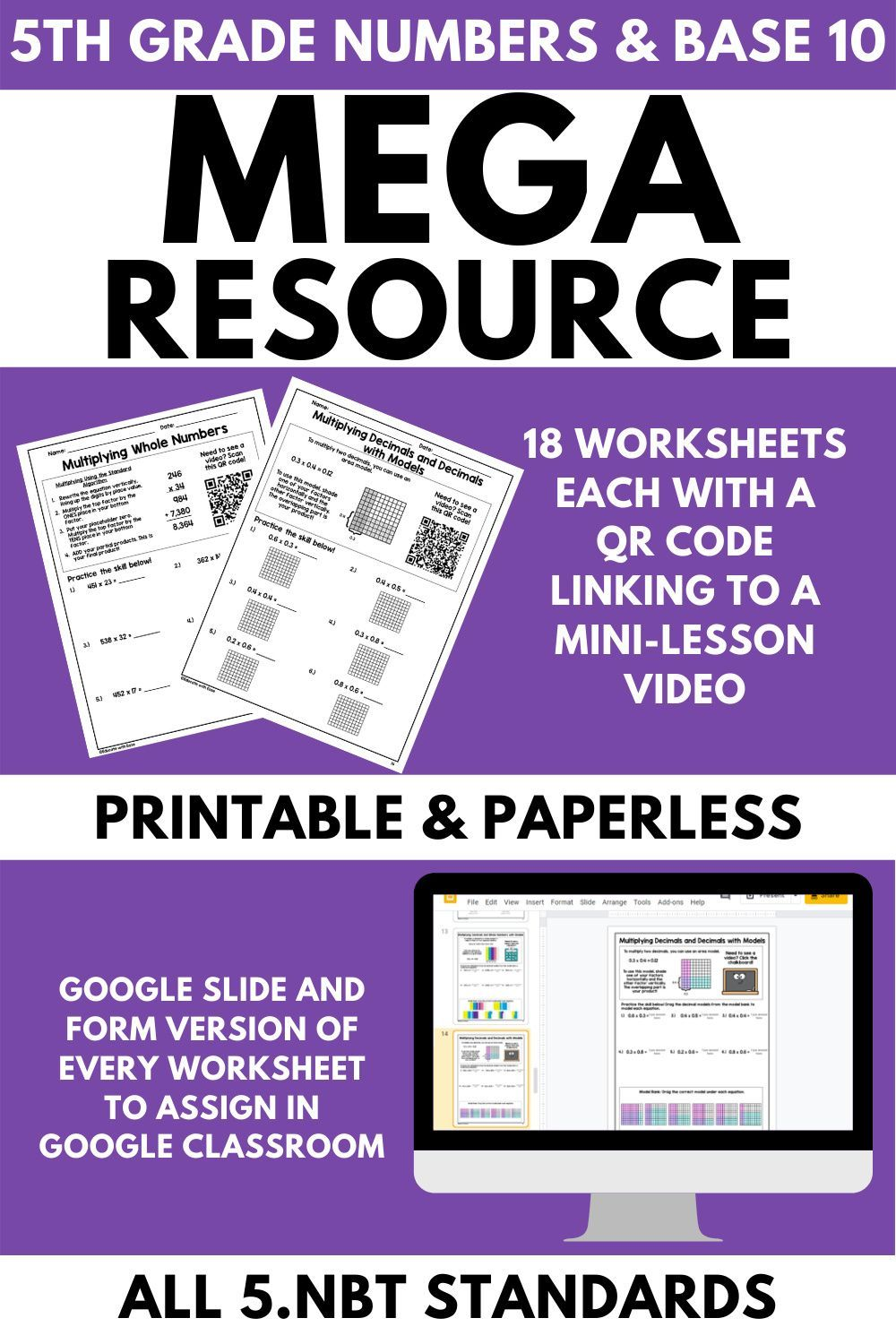 5th Grade Numbers and Base 10 MEGA Resource   Google classroom resources [ 1500 x 1000 Pixel ]
