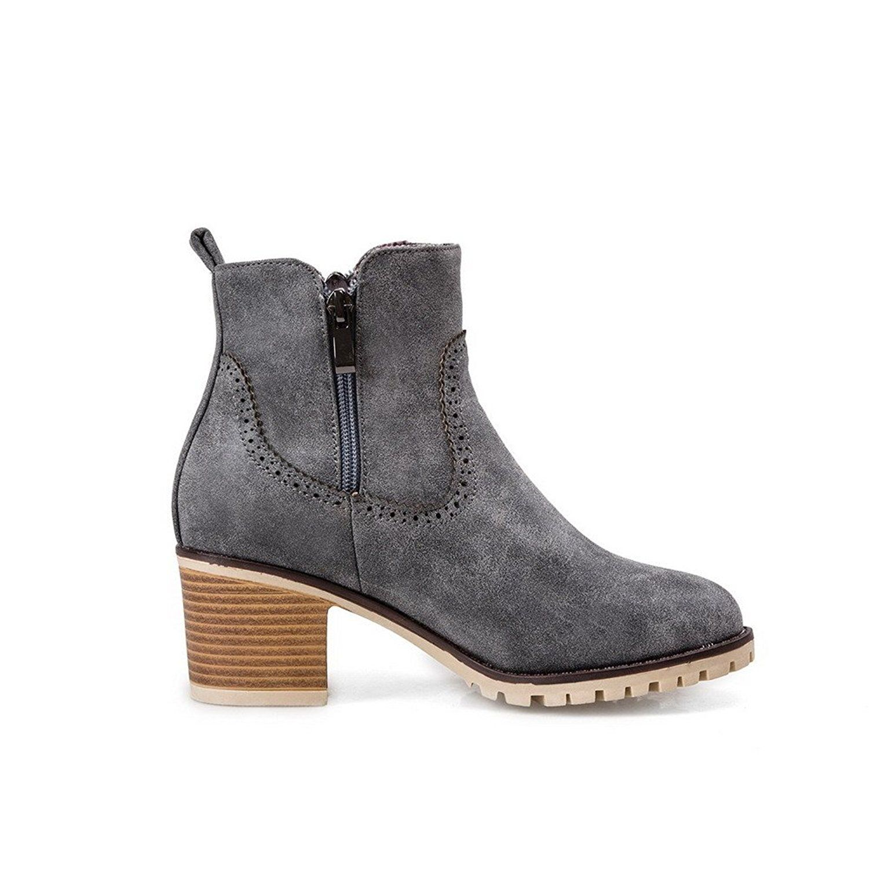 Women's Soft Leather Zipper Round Closed Toe Kitten-Heels Low-top Boots