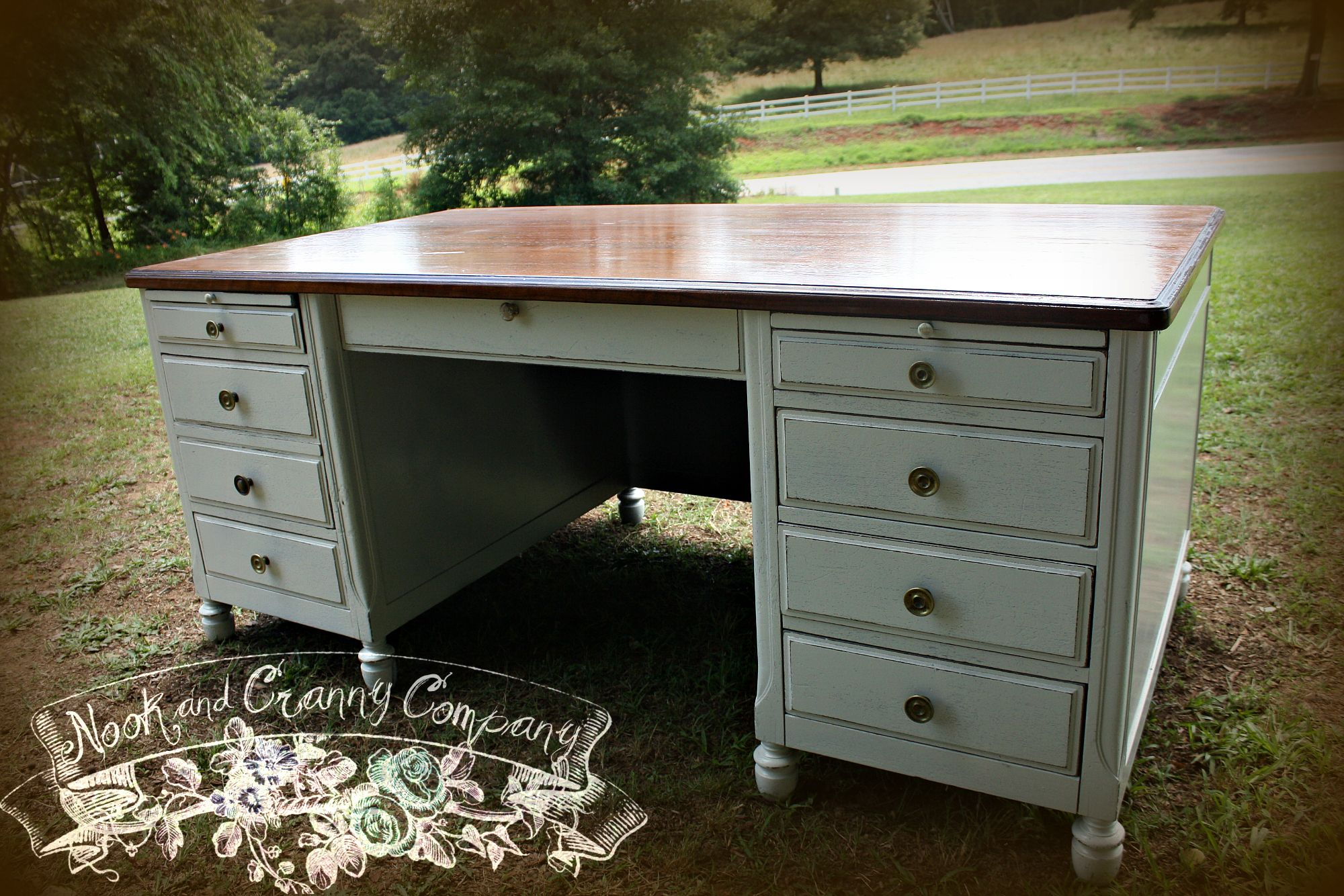 Antique Executive Desk 1920s Vintage Painted White Office