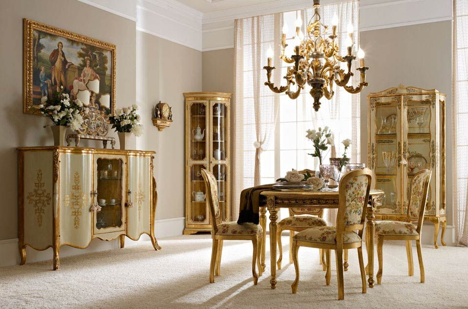 "Italian Luxury Dining Room Wood Furniture. Andrea Fanfani Italy. • 2011 sideboard (L01) cm. 165 x 60 x 120 h. • 210 corner cabinet (L01) cm. 73 x 51 x 200 h. • 226 display cabinet (L02) cm. 100 x 40 x 195 h. • 937 lamp base (L25) cm. 62 x 18 x 73 h. • 5000 ""Famiglia inglese"" painting cm. 120 x 80 h. unframed • 682 table (L04) cm. ø 122 x 80 h. • 715 chair (L04 - S22) cm. 50 x 54 x 99 h. 929/12 chandelier (L05) cm. ø 73 x 90 h."