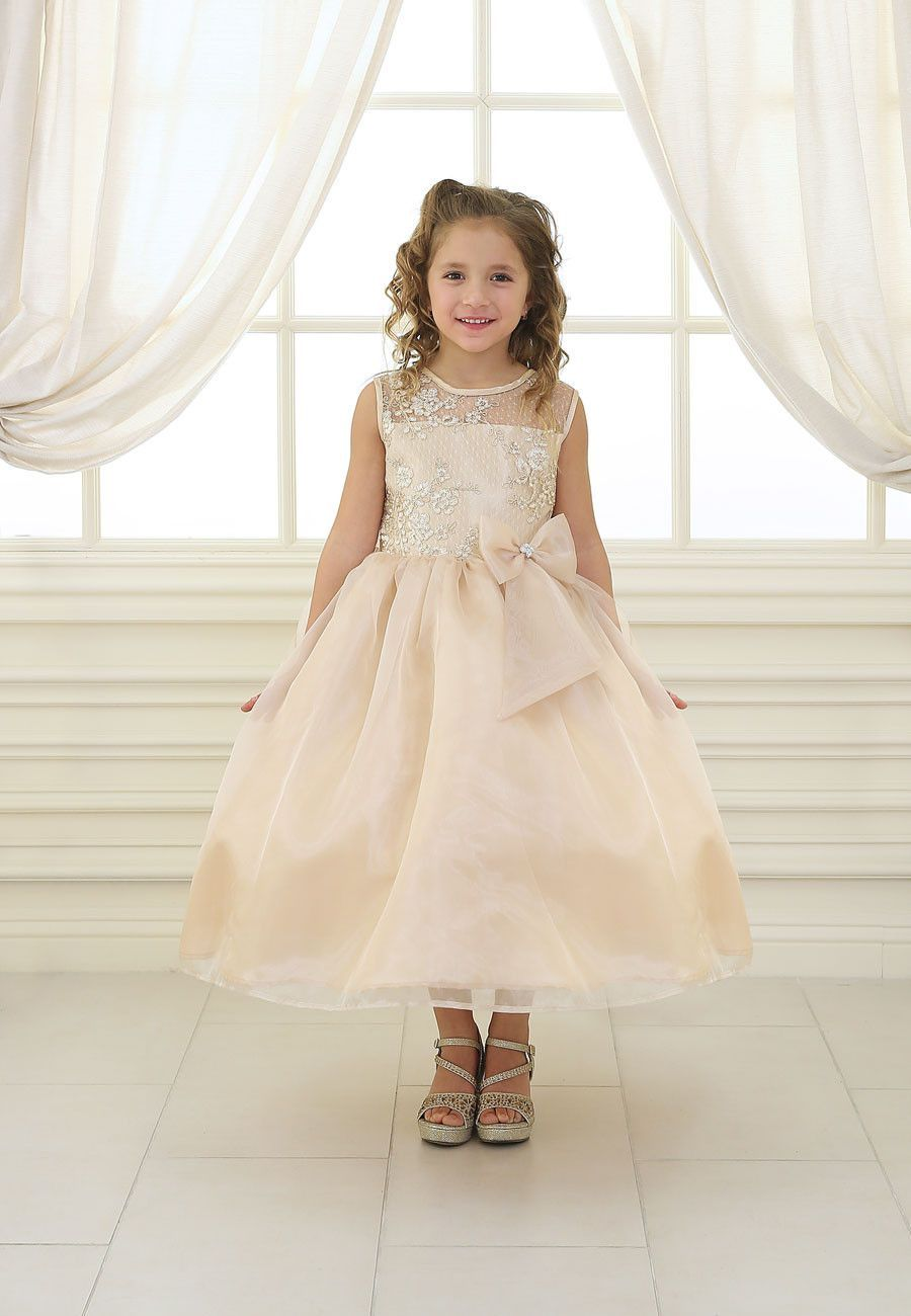 c30c9e998e02 Girls Long Lace Bodice Dress with Bow by Calla KD2461 in 2019 ...