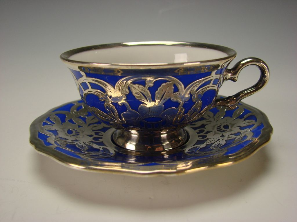 Antique Rosenthal Silver Overlay German Porcelain Cup And Saucer  ~ Tazas Para Infusiones El Corte Ingles