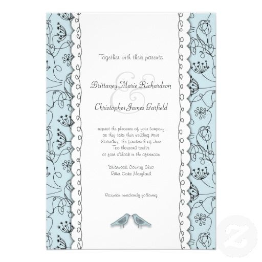 Happy Blue Birds Wedding Doodle Trendy Budget Custom Invitation