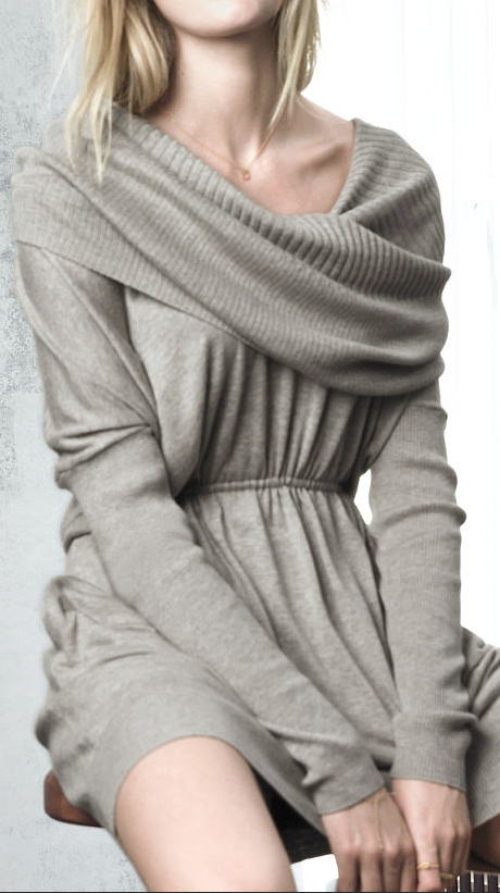 Knit sweater dress. Would be super comfy and cute with leggings.