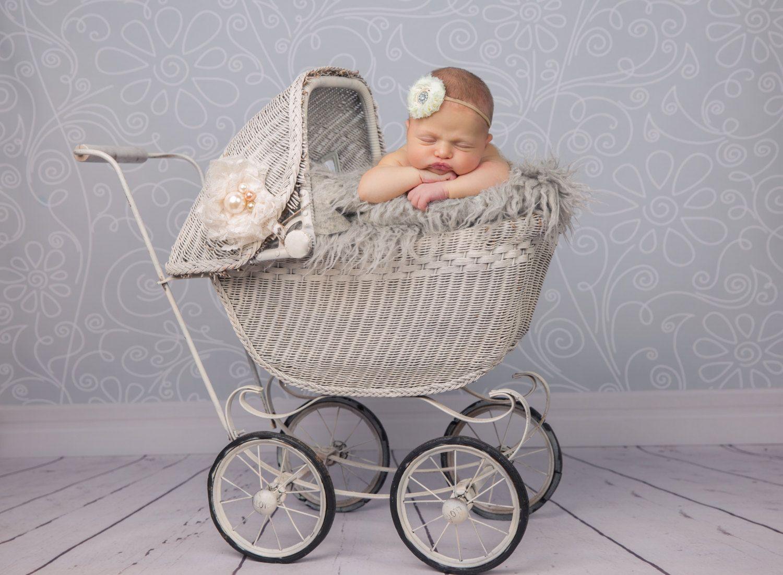 Digital Newborn Backdrop Prop Spring Blue Flower Field Vintage Baby Carriage Pram Baby Photography