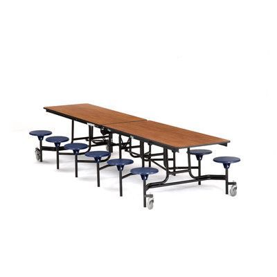 National Public Seating 145 X 59 Rectangular Cafeteria Table Frame Finish Chrome Tabletop Color Fusion Maple Seat Co Cafeteria Table Public Seating Table