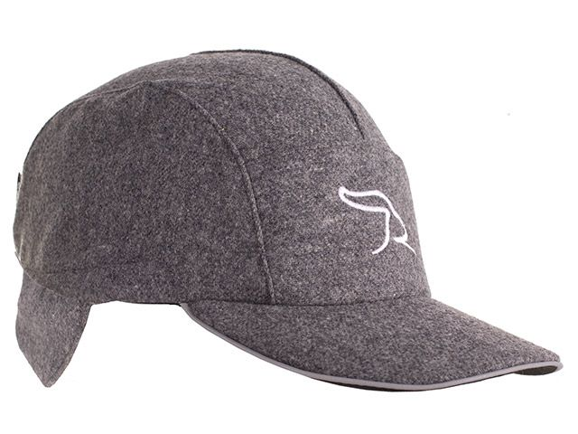 39f523a1603 Gray Wool Running Hat with Ear Flaps