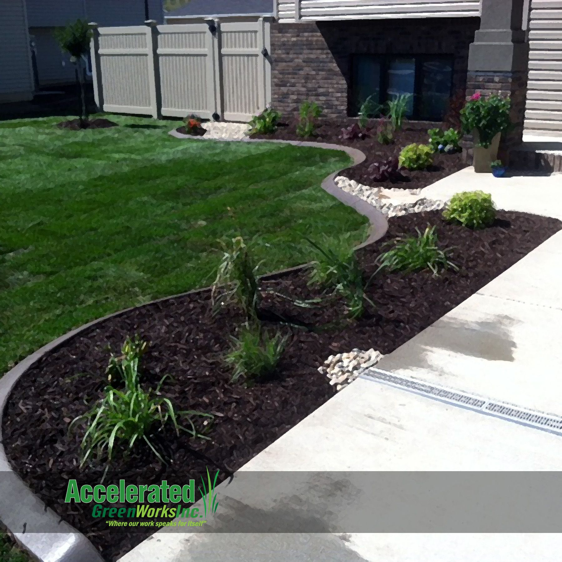Brick Around Shed With Mulch And Flowers: Front Entryway With Concrete Curb Edging, Mink Mulch And