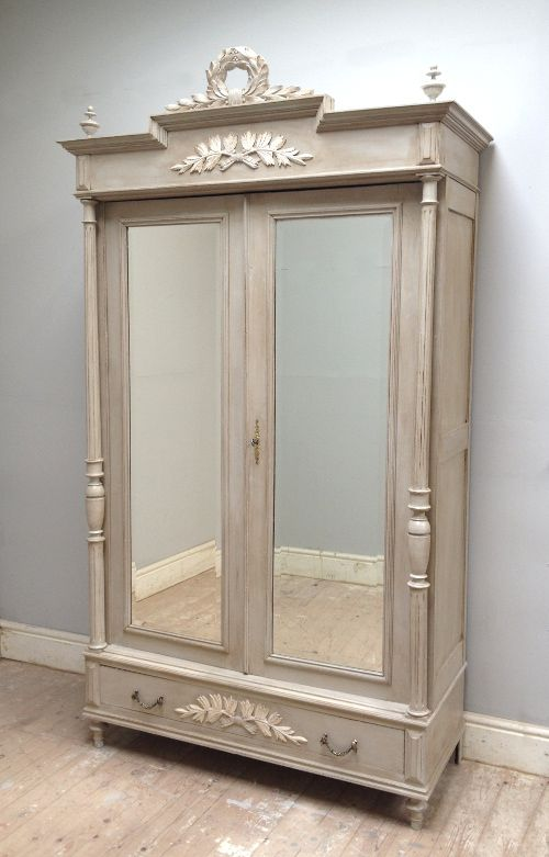 Antique French Armoire / Distressed Painted Furniture / Dirty Wax ...