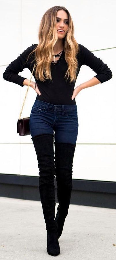 15 Must Have Outfits With Black Thigh High Boots (con