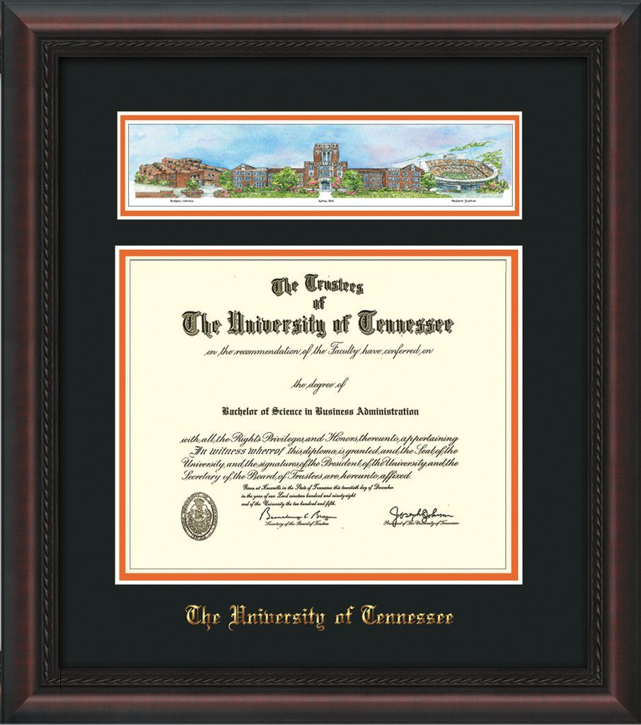 University Of Tennessee Diploma Frame Mahogany Braid W Embossed Utk School Name Only Campus Collage Black O Diploma Frame University Of Tennessee Frame