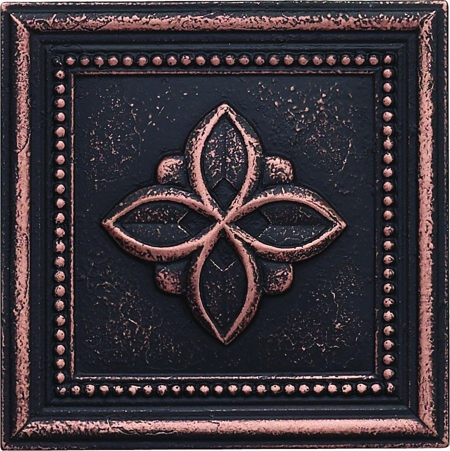 Cast Metal Decoratives Dark Oil Rubbed Bronze Dorset Clover Deco - Decorative 4x4 metal tiles
