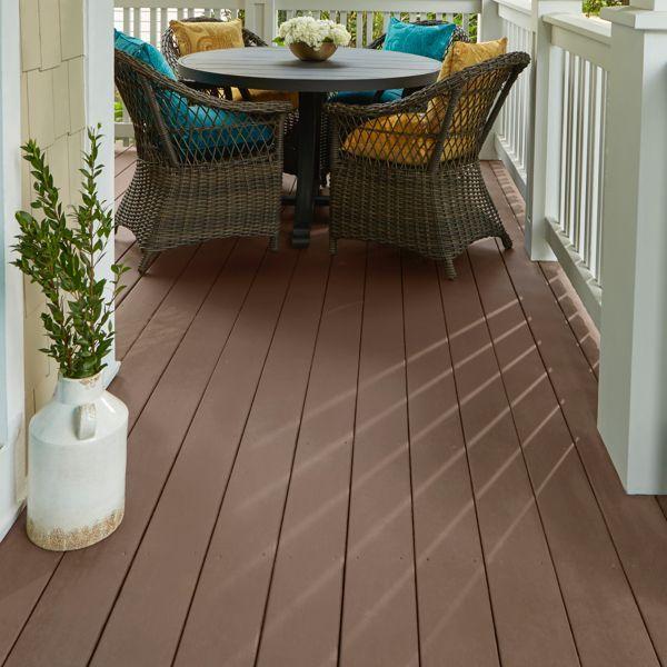 Porch Floor Decking Painted Dark Brown With White Railing