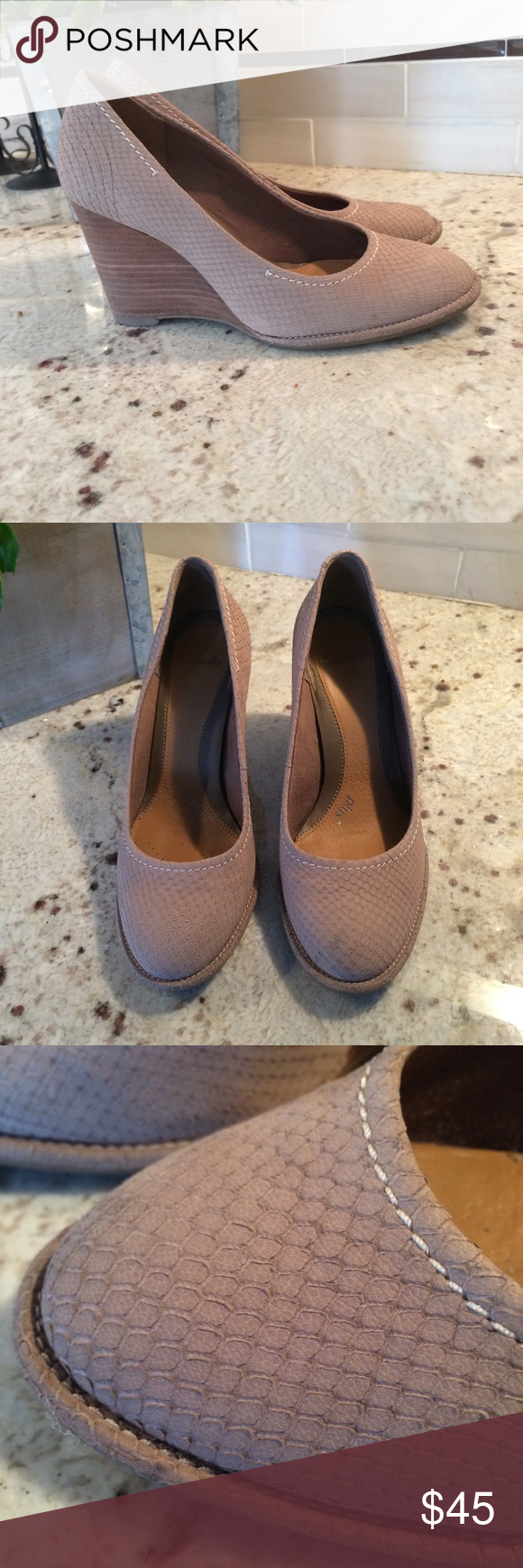 Clarks tan wedges size 7 us Tan wedges, Clarks, Wedges