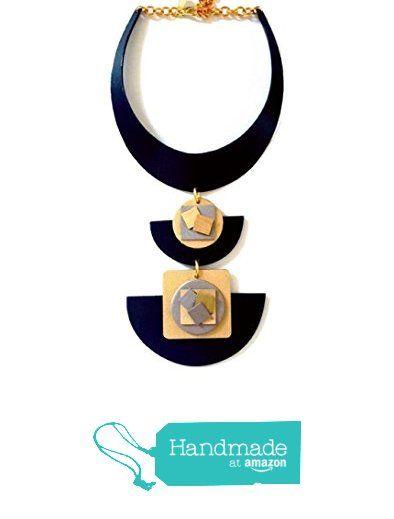 Art Deco - Geometric Wooden Choker Necklace from Melina Sternberg http://www.amazon.com/dp/B015S50VZ0/ref=hnd_sw_r_pi_dp_menqwb1T0HWAM #handmadeatamazon