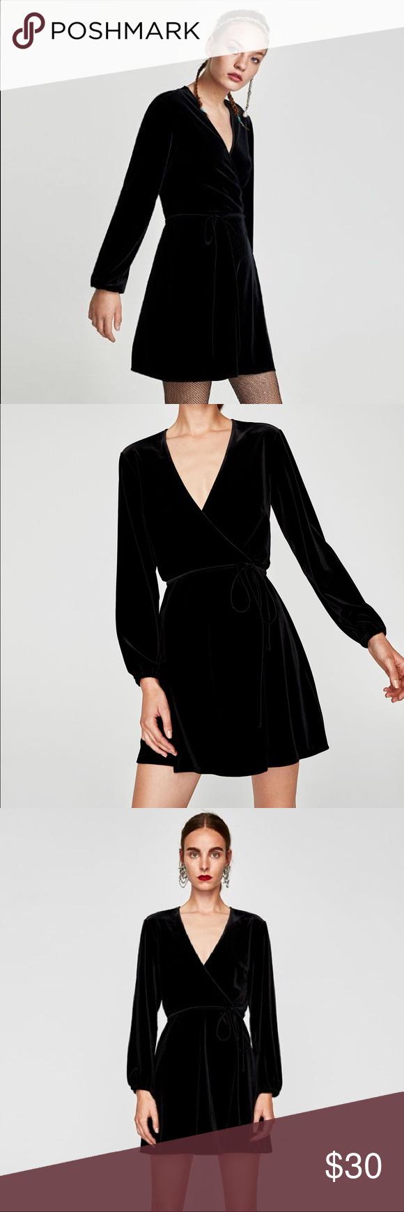 Zara Black Velvet Wrap Dress Size M Dresses Zara Velvet Dress Zara Black