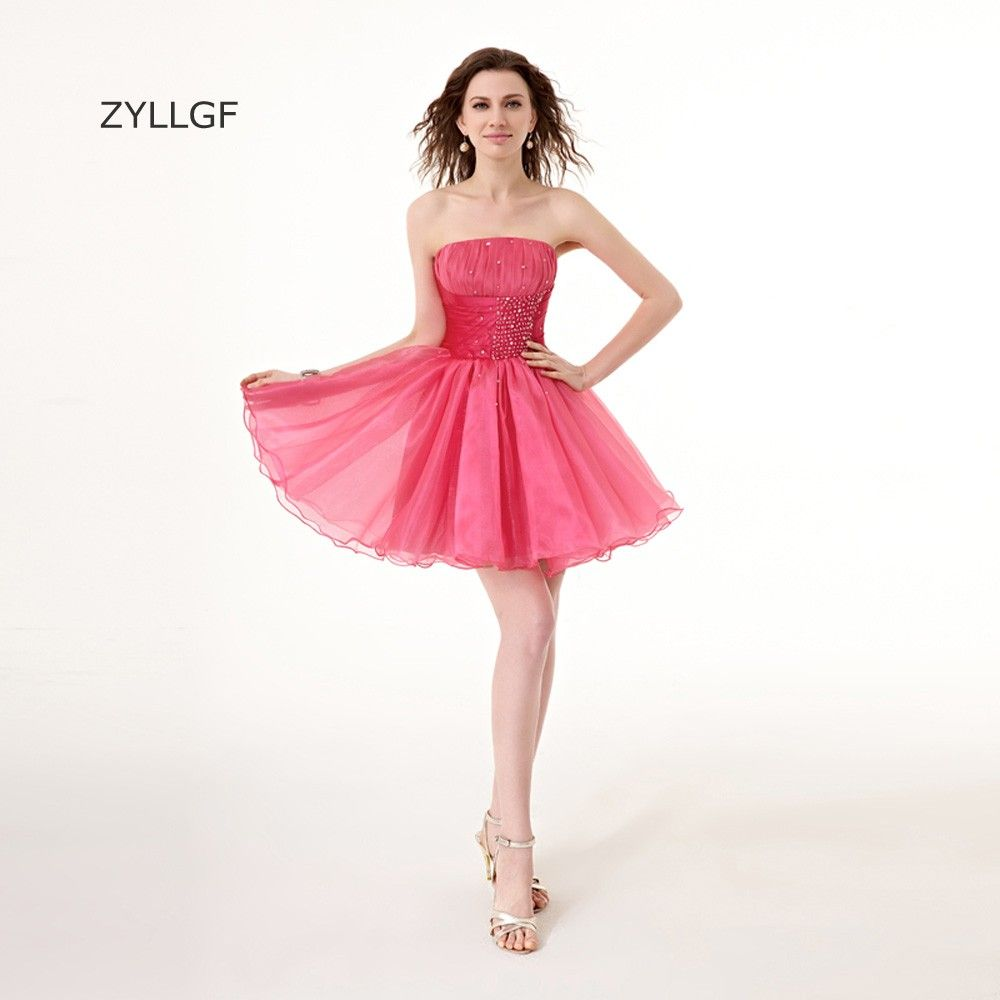 Click to buy ucuc zyllgf short prom puffy dresses strapless beaded