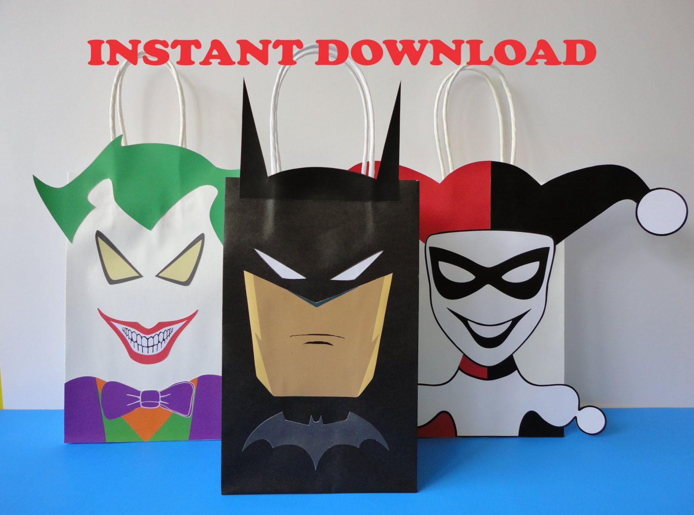 Batman/ Joker/ Harley Quinn Party Favor Bags/ Birthday Party ...
