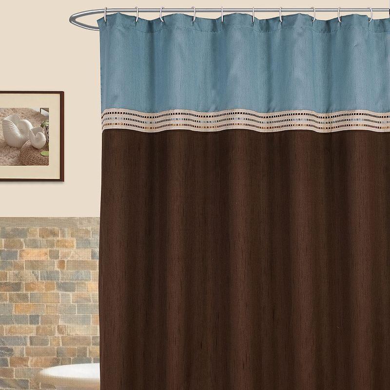 Lush Decor Terra Striped Fabric Shower Curtain Blue Brown