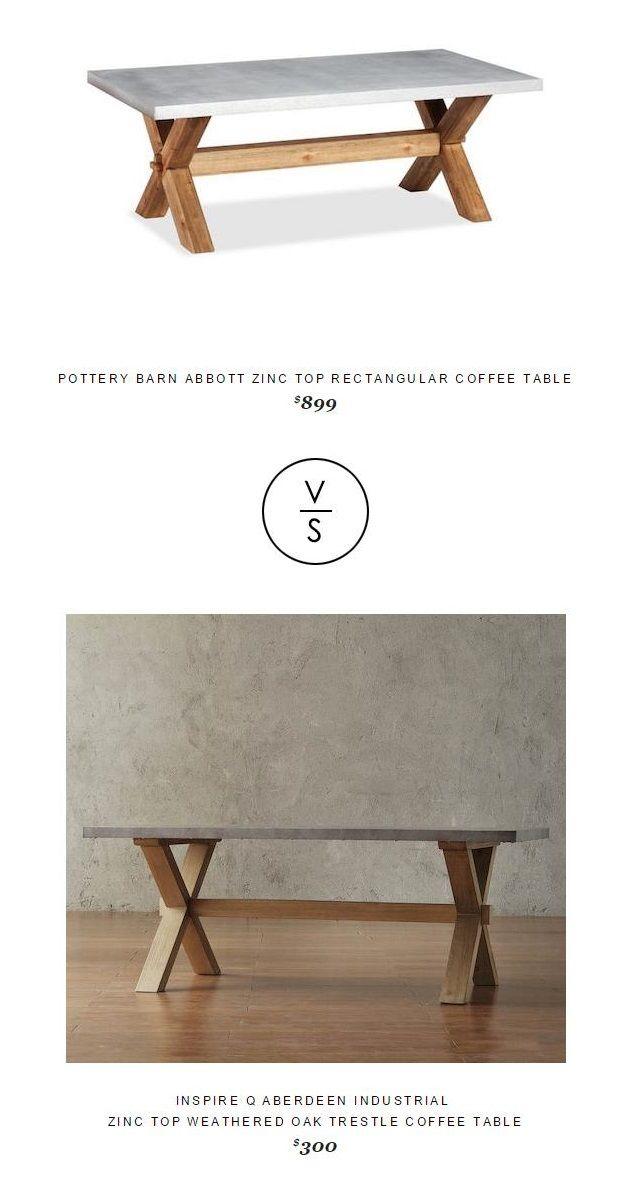 Pottery Barn Abbott Zinc Top Rectangular Coffee Table Pinterest - Pottery barn zinc coffee table