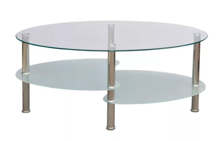 Table Basse Ovale Verre Trempe Blanc Et Metal Chrome Kyrah Table Basse Ovale Table Basse Et Table Basse Design