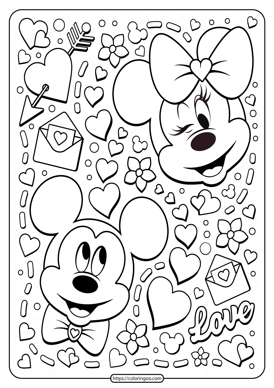 Mickey Minnie Mouse Valentine Coloring Page Minnie Mouse Valentines Minnie Mouse Drawing Valentine Coloring Pages