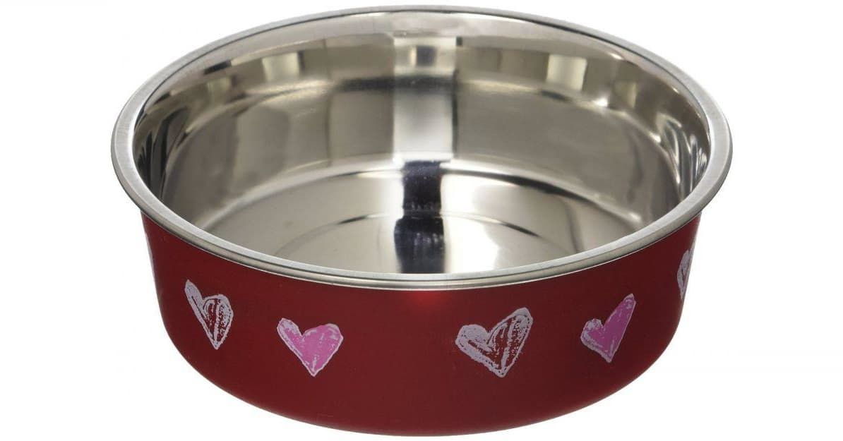 Loving Pets Stainless Steel Red Hearts Bella Bowl With Rubber