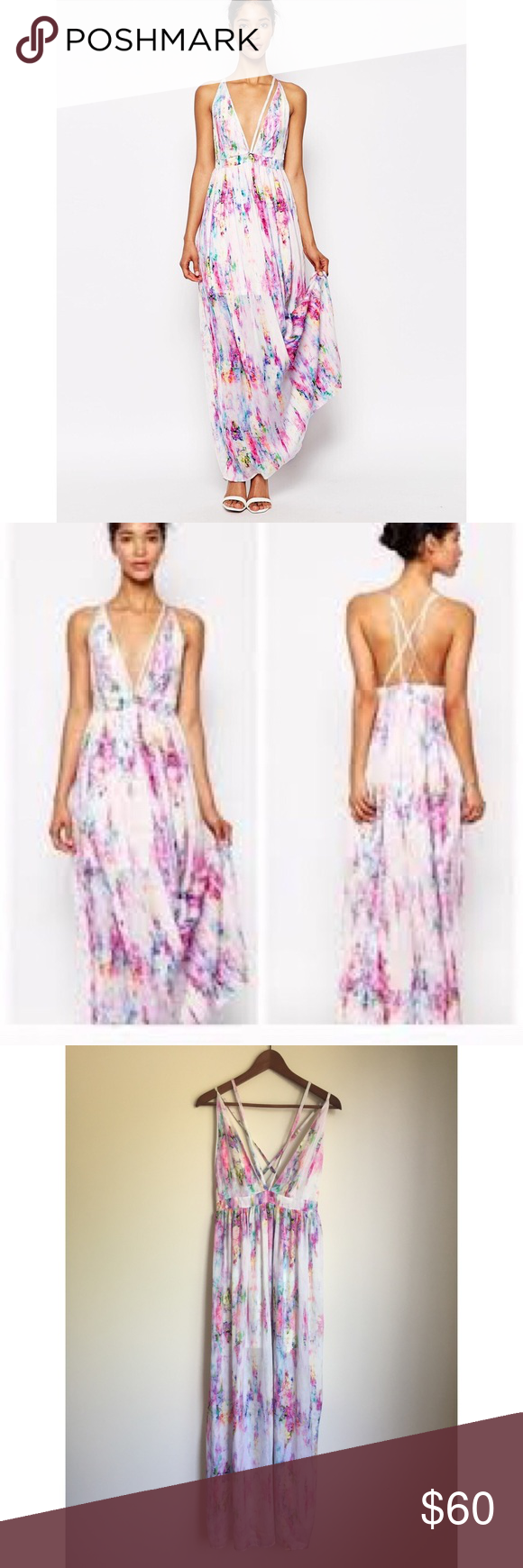 Oh My Love London Carrie Watercolor Maxi Dress Dresses Clothes Design Fashion [ 1740 x 580 Pixel ]