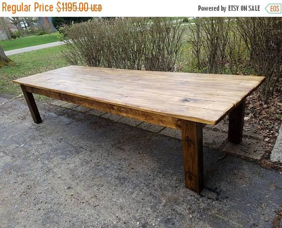 Rustic Farm Table 12 Foot Reclaimed Wood Farm House Primitive Country Cabin Distressed Large Kitchen Table Custom Sizes Colors 6 Solid Legs Rustic Farm Table Rustic Farmhouse Table Farm Table