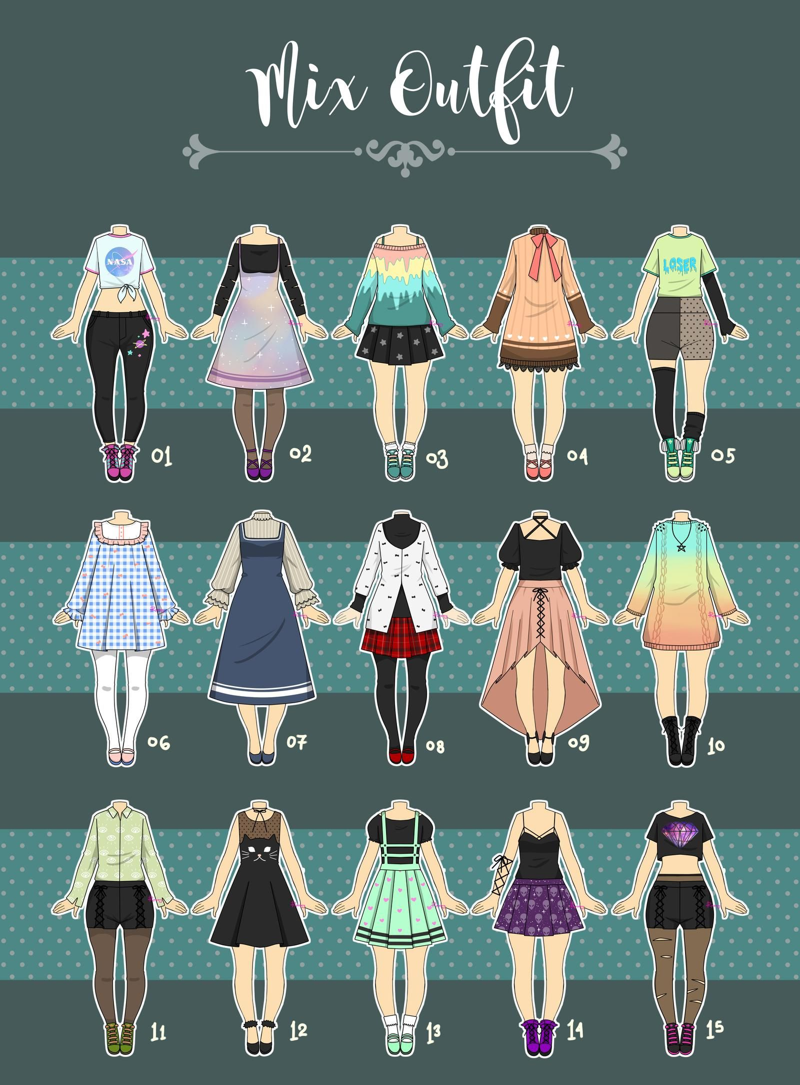Closed Casual Outfit Adopts 07 By Rosariy On Deviantart Drawing Anime Clothes Fashion Design Drawings Anime Outfits