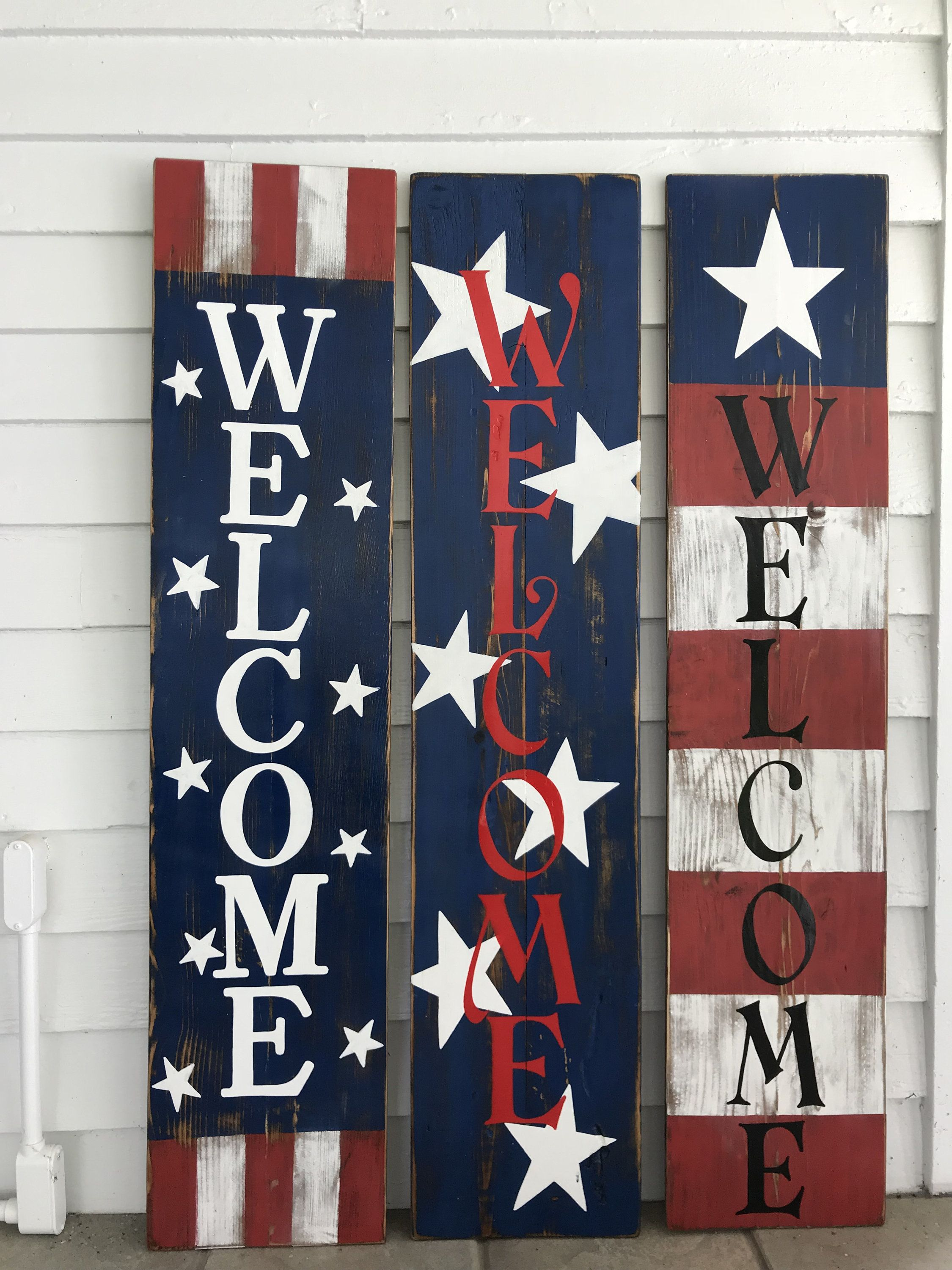 Flag Porch Board Sign/Hand Painted Sign/Porch Decor ...